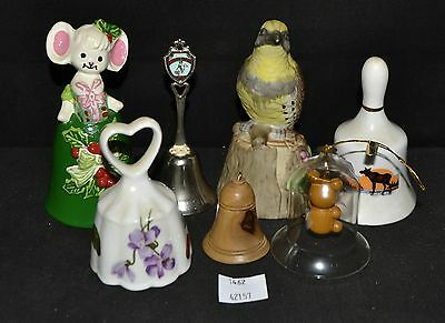 ThriftCHI ~ Mixed Lot of 7 Collectors Bells - Bird Topper, Holiday, Canada