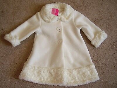 ❤ New ❤ White Faux Fur & Fleece Winter Coat ❤Good Lad❤ 12M ❤Baby Girl❤Holiday❤