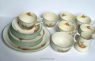 Creamware 21 piece tea set Morley Fox England c 1920