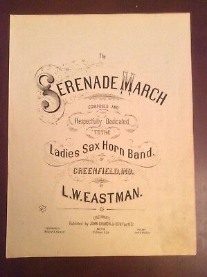 Cover Sheet Music THE SERENADE MARCH to Ladies Sax Horn Band Greenfield Ind