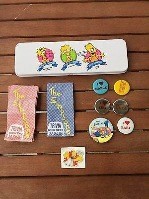 Vintage 1989 Simpsons Pencil Case Box Button Pin Sticker Trivia Book Lot Bart