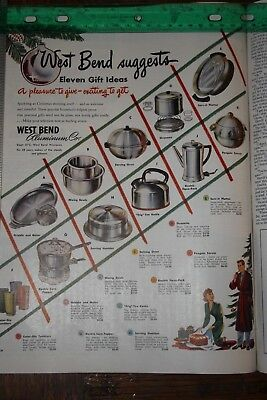 vintage magazine ad advertising print 1949  WEST BEND COOKWARE FOR CHRISTMAS