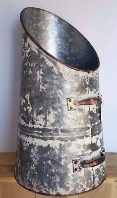 Large Rustic Antique Chipped Paint Rice/Grain Scoop  Farmhouse Decor  Metal Vase