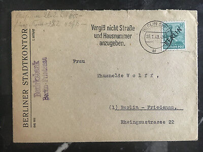 1949 Berlin Germany Cover StadtKontor local use