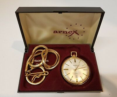 201db56729a Vintage ARNEX Pocket Watch 17 jewels Incabloc With Original Box And Chain