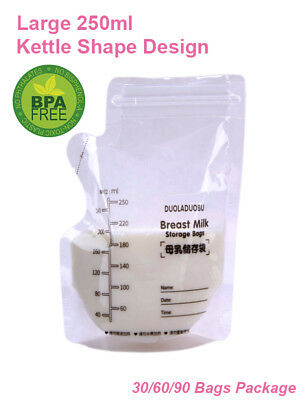 Breast Milk Storage Bags 250ml Kettle Shape Freezing Pouch Sealing BPA Free 60pc
