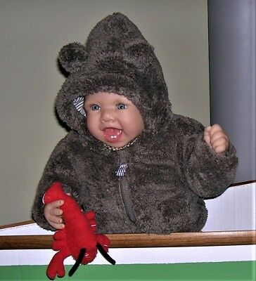 ❤NEW❤TAN/BROWN FAUX FUR HOODED ZIP COAT/JACKET With EARS ❤CARTERS❤3M❤CHRISTMAS