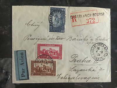 1934 Casablanca Morocco Airmail cover to Czechoslovakia Multi Franked