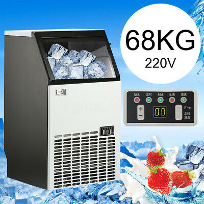 68kg 220V 240W Auto Commercial Ice Maker 45 Cube Machine Stainless Steel Bar
