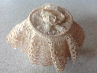 Handmade crochet milk jug cover with teacup and saucer design - vintage