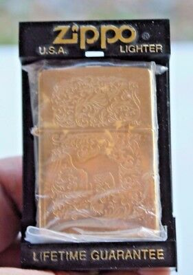 "Vintage 1996 Zippo Camel Gold Tone Filigree ""western"" Lighter New In Display Box"