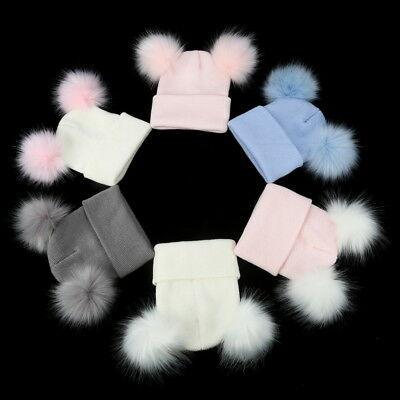 Baby Infant Winter Double Fur Pom Hat Cute Beanie Boys Girls Hat Cap Xmas Gifts