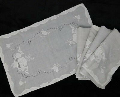 Antique Linen Madeira Leron ? Linen Placemat Set of 5 Light Gray / White