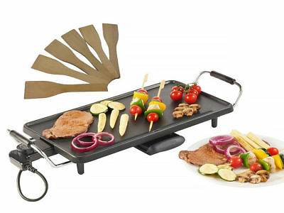 ELECTRIC TEPPANYAKI TABLE TOP GRILL GRIDDLE BBQ BARBECUE w 8 FREE SPATULAS 2000w