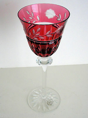 "1 Crystal 6 1/2"" Wine Water Apertif Cranberry Cased Cut To Clear Ajka Prionnseas"