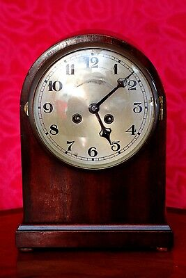 Vintage German Art Deco 8 Day Mahogany Mantel Clock with Chimes and Key