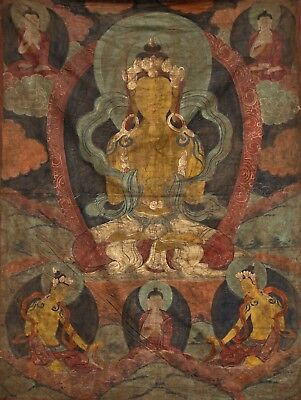 Rare Antique Temple Thangka 18th / 19th Century mineral Pigment Canvas Tibet