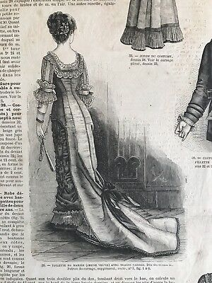 Rare 1870's sewing patterns  (tracings) MODE UNIVERSELLE  September 16,1878 BALL