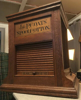J&P COATS SPOOL CABINET ANTIQUE COUNTRY STORE DISPLAY with Glass panels