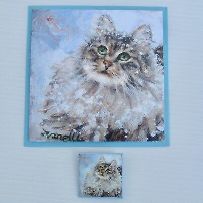 Maine Coon Cat PIN & NOTE CARD SET Purrrfect STocking Stuffer Adorable TABBY CAT