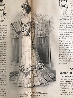 French MODE ILLUSTREE SEWING PATTERN Nov 18,1900 TWO CORSETS, BALL, DOLL DRESSES