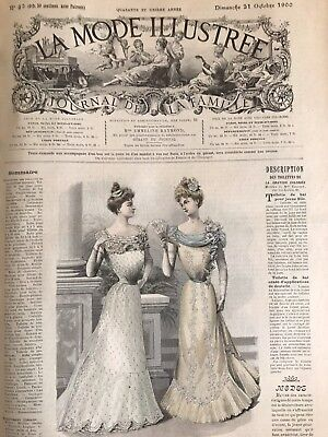 French MODE ILLUSTREE SEWING PATTERN Oct 21,1900 BALL GOWN WITH LACE APPLICATION