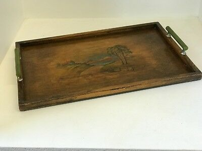 Art Deco Wooden Painted Serving Tray With Green Phenolic Handles 45.5cm x 30cm