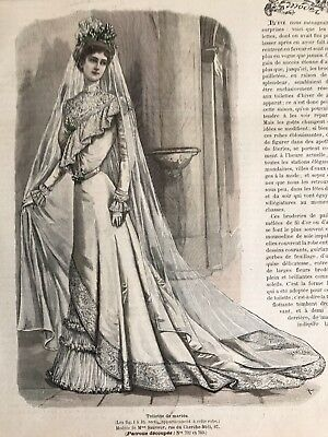 French MODE ILLUSTREE SEWING PATTERN August 19,1900 BRIDE DRESS , TOILETTE DINER