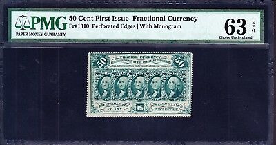 US 50c Fractional Currency Perforated w/ Monogram FR 1310 PMG 63 EPQ Ch CU