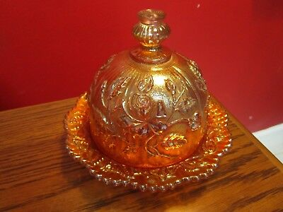 LUSTRE ROSE by IMPERIAL  UNMARKED MARIGOLD PERIOD CARNIVAL GLASS BUTTER DISH