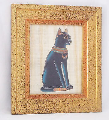"Egyptian papyrus CAT ""MAU"" Sacred Ancient Egyptian-Golden Frame-14.5 X 12.5"