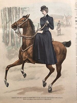 French MODE ILLUSTREE SEWING PATTERN Feb 18,1900 SIDE SADDLE, SPORTS CORSET