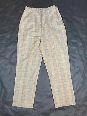 Women's VTG Brown Crop Pants High Waist 60s 70s Green Plaid Ankle Pant 4/6