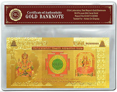 Colourised INDIA Mahalakshmi Wealth Attraction Gold Plated Banknote w COA .999