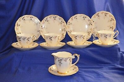 Vintage Queen Anne 4 Trio Set  and 1 Jug Creamer/Milk W Sauce Plate -14 piece-