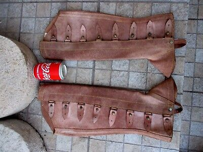 Genuine Leather Handmade Saddlery Adjustable Gaiters Horse Riding Chaps Brown
