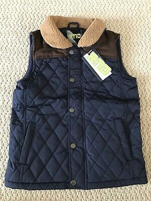 NWT Boy's RND Navy Nylon Quilted Fleece Lined Two Tone Zip Vest ALL SIZES 8-18