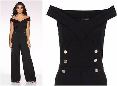 ex Quiz Black Bardot Button Detail Military Wide Leg Jumpsuit