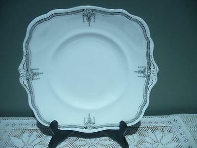 Star Paragon England Vintage Black & White Cake / Biscuit Plate - 1920 - Reas