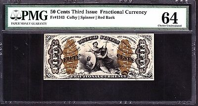 US 50c Fractional Currency Justice Red Back FR 1343 PMG 64 Ch CU