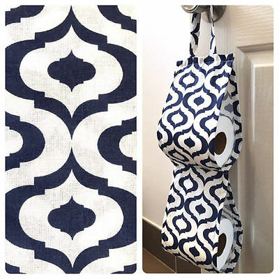 Double Toilet Roll Holder/ Toilet Paper Holder/ Bathroom Storage Moroccan Navy