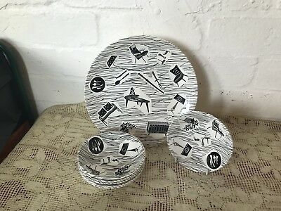Vintage Ridgway Enid Seeney Homemaker Six Bowls + Dinner Plate Made In England