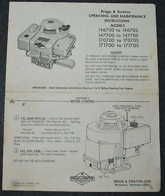 Vintage Briggs & Stratton Operating Instructions Models 146700 - 146705 , Etc.