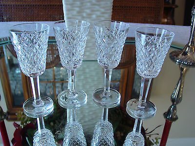 """4 Vintage Waterford """"Alana"""" Cordial Glasses Made in Ireland"""