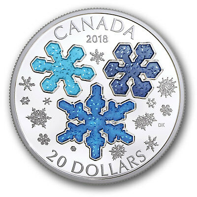 Stamp Pickers Canada RCM 2018 Winter Ice Crystals 99.99% Pure Silver Proof Coin