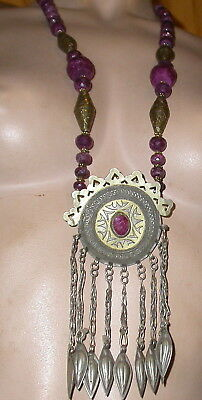 vintage turkoman pendant  gold washed necklace with real ruby