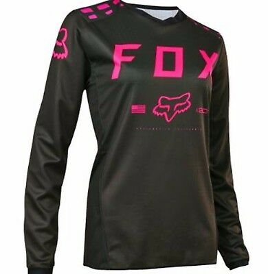FOX female motocross jersey NEW Black/pink SM Womens Ladies Motorcross Dirt Bike
