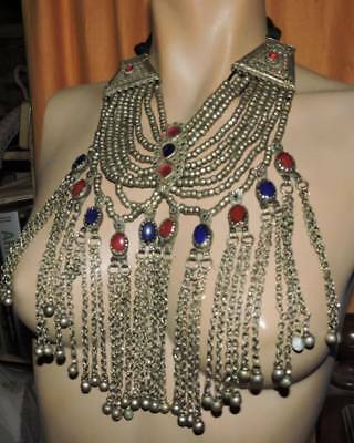 Hazara pakistan necklace jewels large square ends and red blue larger stones gla