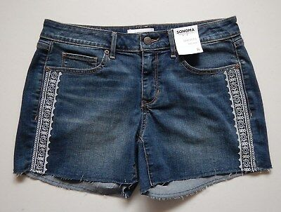 dc0bd976b86e03 NEW Sonoma Womens Cut Off Embroidered Blue Denim Shorts Sizes 2 - 16