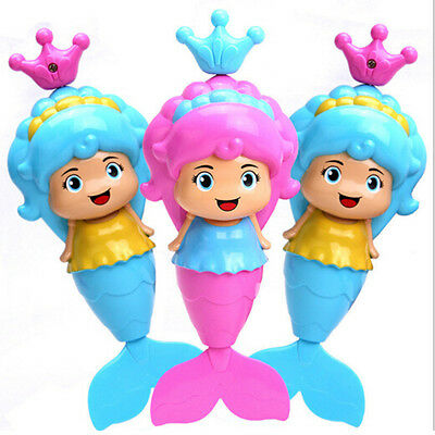 Baby Kids Mermaid Clockwork Dabbling Bath Toy Classic Swimming Water Wind Up Ltm